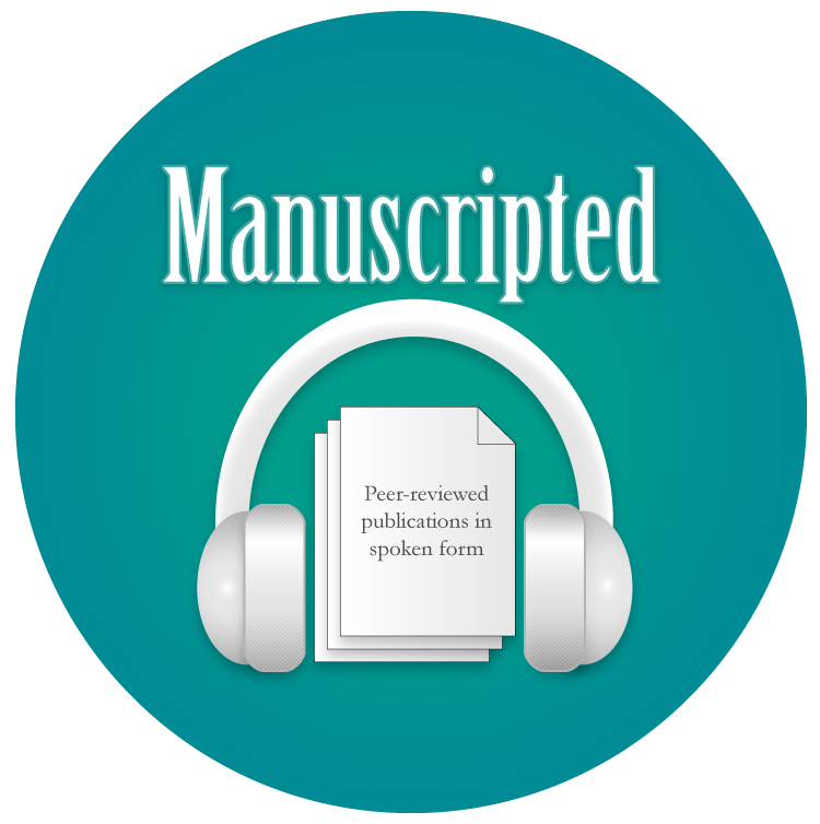 """Image of the Manuscripted logo showing a white document in between the speakers of a pair of white over-ear headphones. The text """"Manuscripted"""" is displayed above the headphones in white. The background is teal in color."""